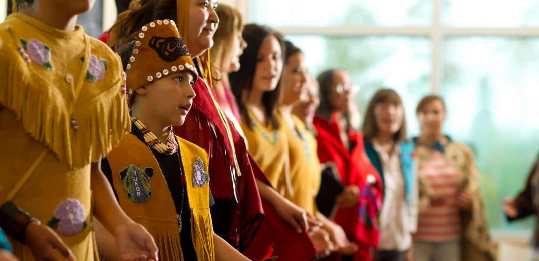 First Nation dancers Da Ku Cultural Centre