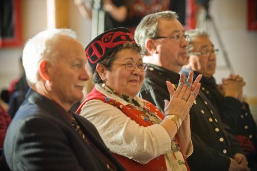Commissioner Doug  Phillips, and Adeline Webber Teslin Tlingit Council citizen, celebrate the signing of the Administration of Justice Agreement in February 2011. (Photo: Canada)