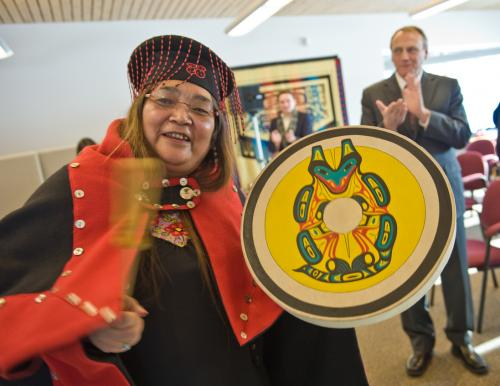 Georgina Sydney, Teslin Tlingit Council negotiator, celebrates the signing of the Administration of Justice Agreement in 2011. (Photo: Canada)