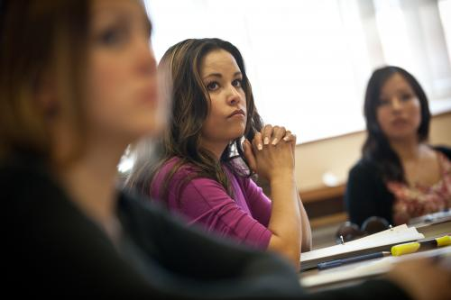 First Nations Governance and Public Administration student Lily Sembsmoen listens to the class discussion. (Photo: archbould.com)