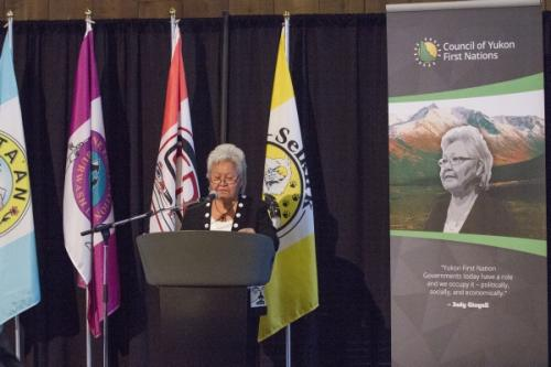 """""""We all have to work together. We all have to make it work,"""" Respected elder, Judy Gingell, says of the Yukon Agreements. (Photo: Government of Yukon)"""